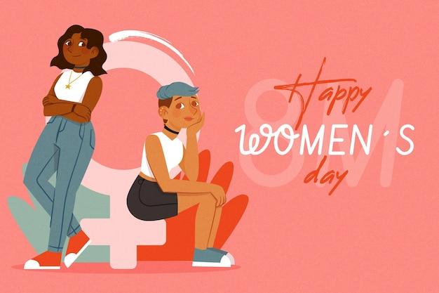 Ilustração do dia internacional da mulher desenhada à mão com mulheres