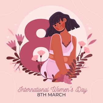 Ilustração do dia internacional da mulher desenhada à mão plana com mulher e flores
