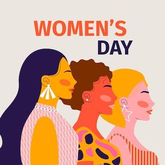 Ilustração do dia internacional da mulher desenhada à mão plana