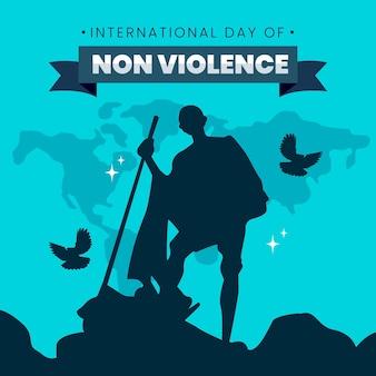 Ilustração do dia internacional da não violência no design plano