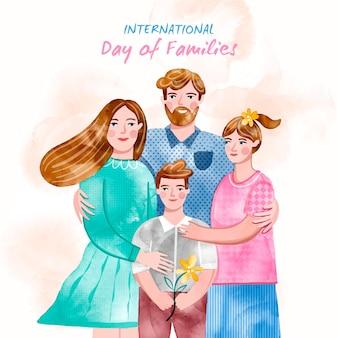 Ilustração do dia internacional das famílias em aquarela pintada à mão