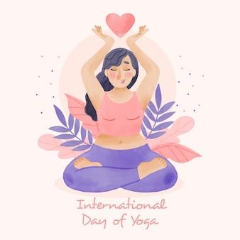 Ilustração do dia internacional de ioga pintada à mão em aquarela