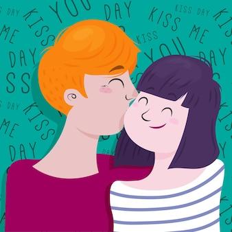 Ilustração do dia internacional do beijo desenhada à mão com casal