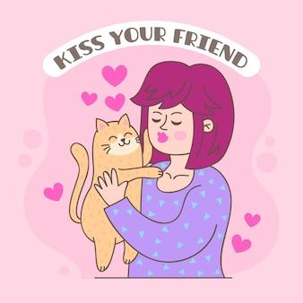 Ilustração do dia internacional do beijo desenhada à mão com mulher e gato