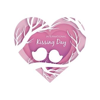 Ilustração do dia internacional do beijo em estilo jornal
