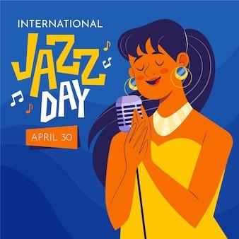 Ilustração do dia internacional do jazz com mulher cantando