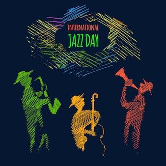 Ilustração do dia internacional do jazz de uma banda de música ao vivo tocando diversos instrumentos musicais em um show ou festival.