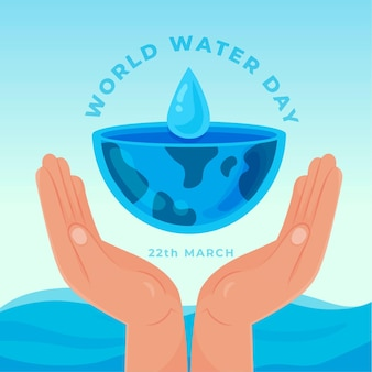 Ilustração do dia mundial da água com as mãos e o planeta