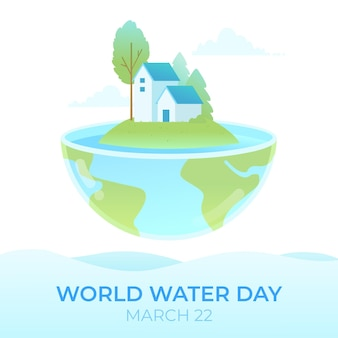 Ilustração do dia mundial da água com planeta e casas