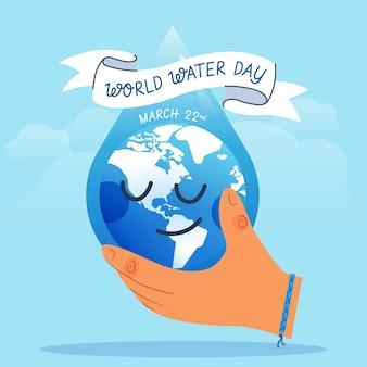 Ilustração do dia mundial da água desenhada à mão com a mão segurando o planeta