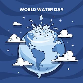 Ilustração do dia mundial da água desenhada à mão com o planeta