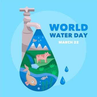 Ilustração do dia mundial da água Vetor grátis