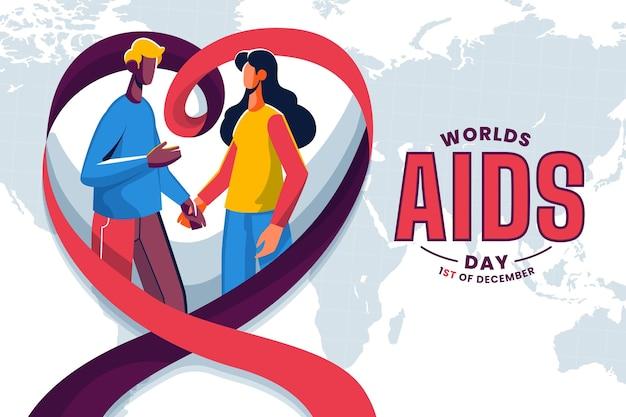 Ilustração do dia mundial da aids com pessoas de mãos dadas