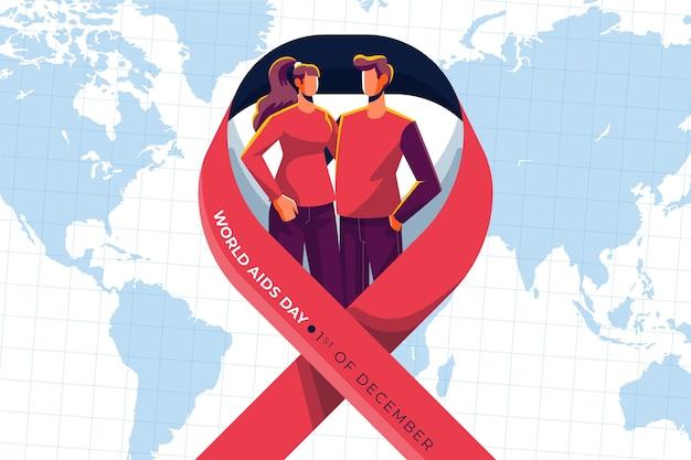 Ilustração do dia mundial da aids com pessoas se apoiando