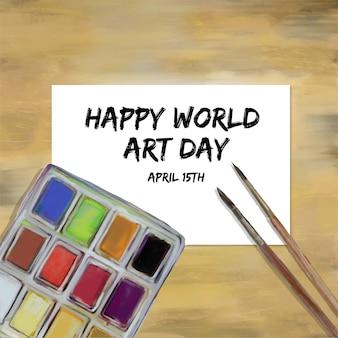 Ilustração do dia mundial da arte em aquarela