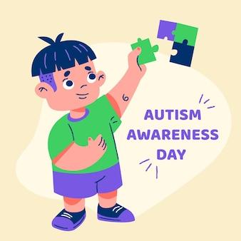 Ilustração do dia mundial da conscientização do autismo dos desenhos animados com peças do quebra-cabeça