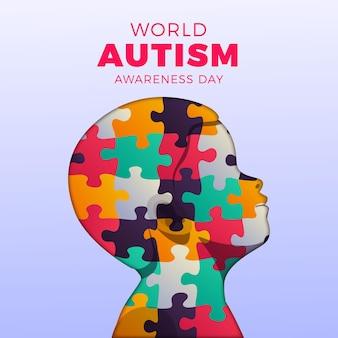 Ilustração do dia mundial da conscientização do autismo em gradiente