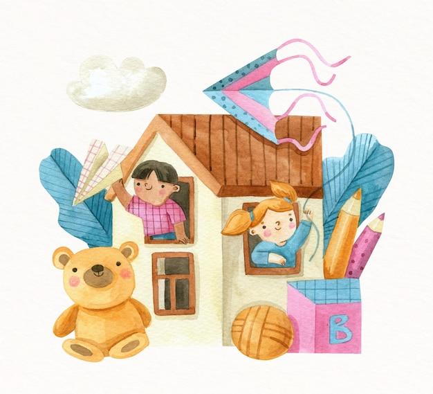 Ilustração do dia mundial da criança em aquarela