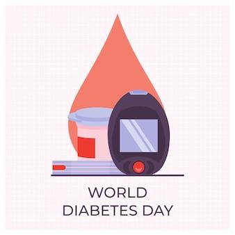 Ilustração do dia mundial da diabetes, tira de teste e medidor de açúcar no sangue.