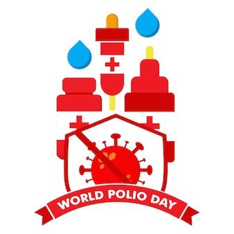 Ilustração do dia mundial da pólio. vacina com vírus e design de ilustração de escudo