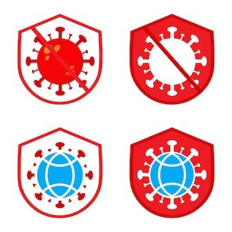 Ilustração do dia mundial da pólio. vírus com design de ilustração de escudo e globo