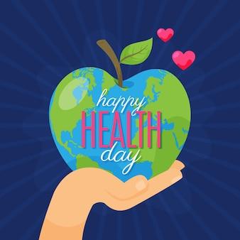 Ilustração do dia mundial da saúde com a mão segurando um planeta em forma de maçã
