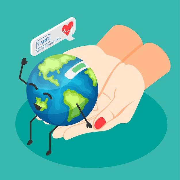Ilustração do dia mundial da saúde com as mãos de uma médica segurando o sorridente planeta terra