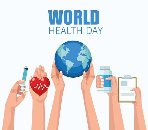 Ilustração do dia mundial da saúde com as mãos levantando ícones médicos.