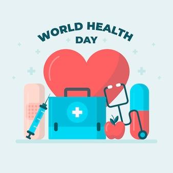 Ilustração do dia mundial da saúde com coração e kit de primeiros socorros