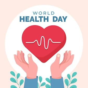 Ilustração do dia mundial da saúde com coração e mãos