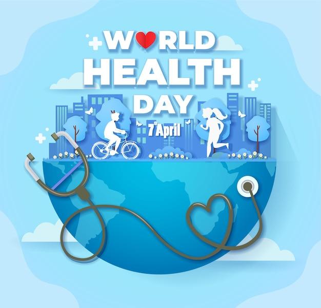 Ilustração do dia mundial da saúde com estetoscópio