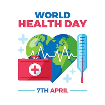 Ilustração do dia mundial da saúde com kit de primeiros socorros e planeta