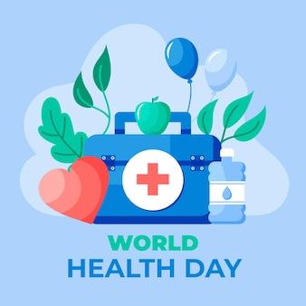 Ilustração do dia mundial da saúde com kit de primeiros socorros