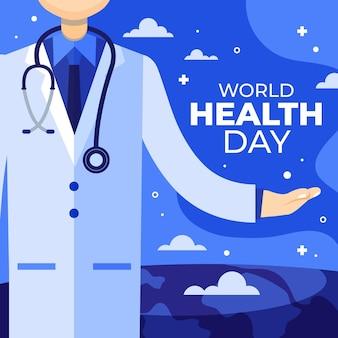 Ilustração do dia mundial da saúde com médico