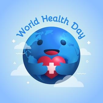 Ilustração do dia mundial da saúde com o planeta segurando o coração