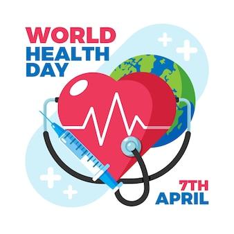 Ilustração do dia mundial da saúde com planeta e coração