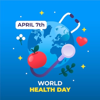 Ilustração do dia mundial da saúde com planeta e estetoscópio