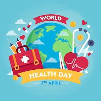 Ilustração do dia mundial da saúde com planeta e kit de primeiros socorros