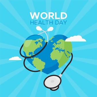 Ilustração do dia mundial da saúde com planeta em forma de coração e estetoscópio