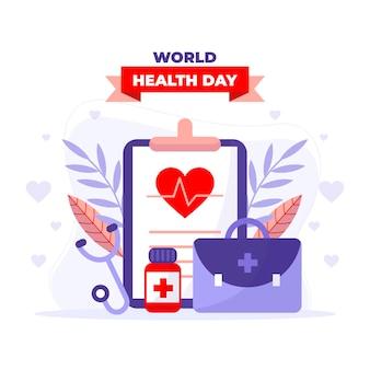 Ilustração do dia mundial da saúde com prancheta e kit de primeiros socorros