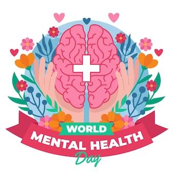 Ilustração do dia mundial da saúde mental em design plano