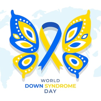 Ilustração do dia mundial da síndrome de down com borboleta