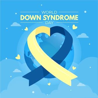 Ilustração do dia mundial da síndrome de down com fita e o planeta terra