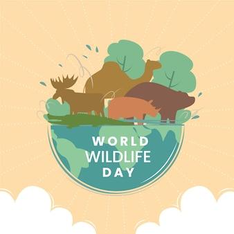 Ilustração do dia mundial da vida selvagem com animais e natureza