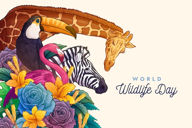 Ilustração do dia mundial da vida selvagem desenhada à mão com animais
