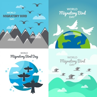 Ilustração do dia mundial das aves migratórias