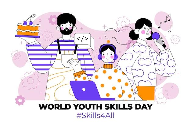 Ilustração do dia mundial das habilidades da juventude