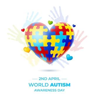 Ilustração do dia mundial de autismo realista