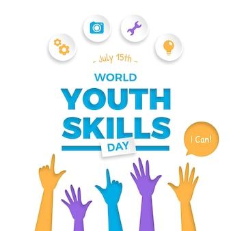 Ilustração do dia mundial de habilidades da juventude em estilo de papel