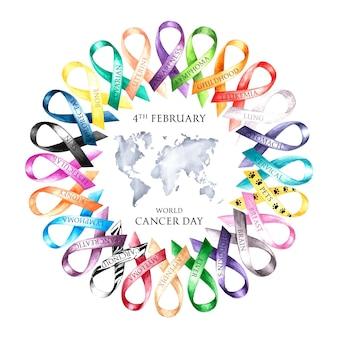 Ilustração do dia mundial do câncer em aquarela com fitas